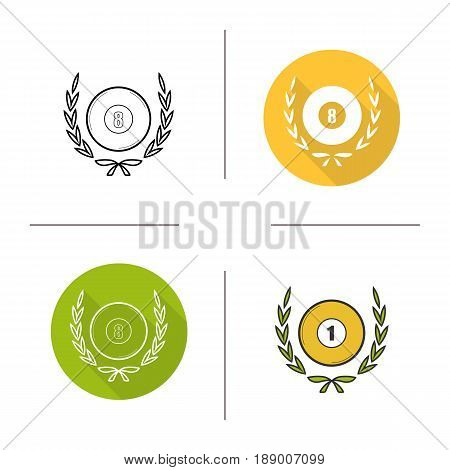 Billiard championship icon. Flat design, linear and color styles. Billiard ball in laurel wreath. Isolated vector illustrations