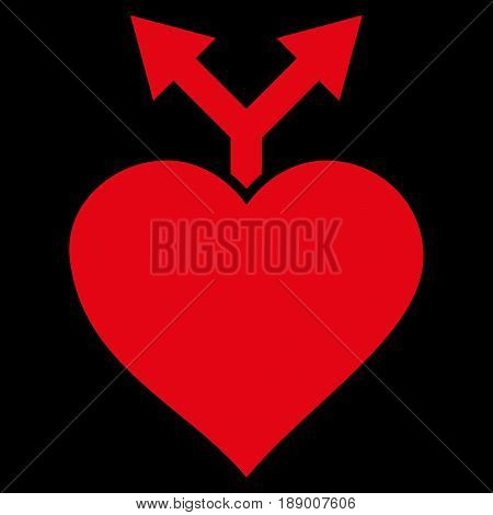 Love Variants flat icon. Vector red symbol. Pictogram is isolated on a black background. Trendy flat style illustration for web site design, logo, ads, apps, user interface.