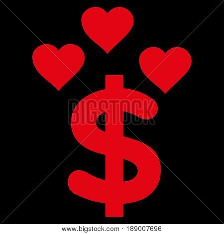 Lovely Dollar flat icon. Vector red symbol. Pictogram is isolated on a black background. Trendy flat style illustration for web site design, logo, ads, apps, user interface.