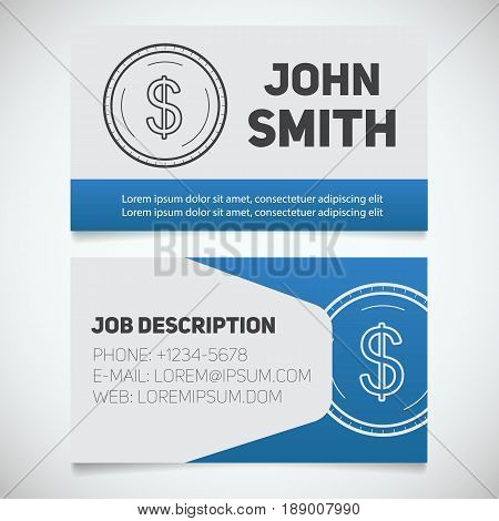Business card print template with US dollar coin logo. Accountant. Bank worker. Stationary design concept. Vector illustration