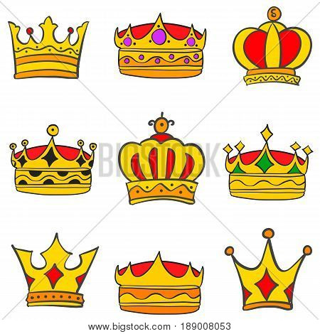 Collection stock style elegant crown set vector art