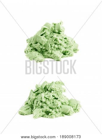 Pile of kinetic sand isolated over the white background, set of two different foreshortenings