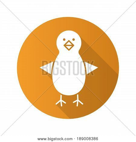 Chicken flat design long shadow icon. Nestling. Vector silhouette symbol