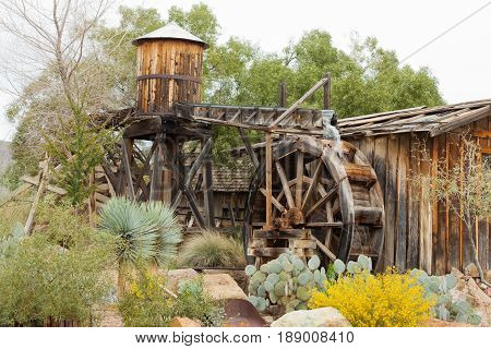 Historic Wooden Water Mill Building Desert Garden