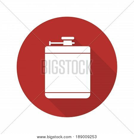 Hip flask flat design long shadow icon. Alcohol flask. Vector silhouette symbol