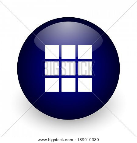 Thumbnails grid blue glossy ball web icon on white background. Round 3d render button.
