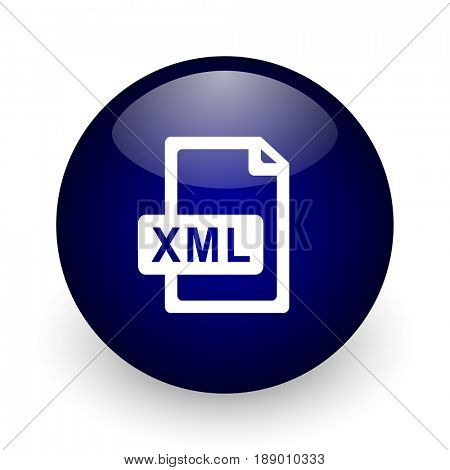 Xml file blue glossy ball web icon on white background. Round 3d render button.