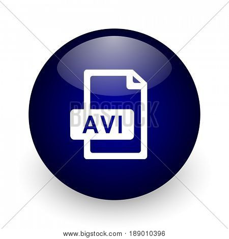 Avi file blue glossy ball web icon on white background. Round 3d render button.