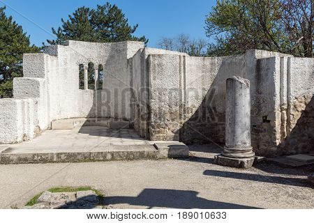 Ruins of Round (Golden) Church  of St. John, Preslav near The Second capital city of the First  Bulgarian Empire  Great Preslav, Bulgaria