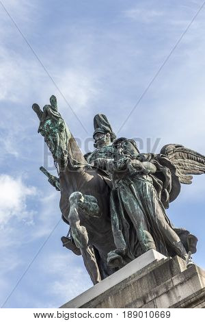 Equestrian Statue Of German Emperor William I In German Corner In Koblenz, Germany.