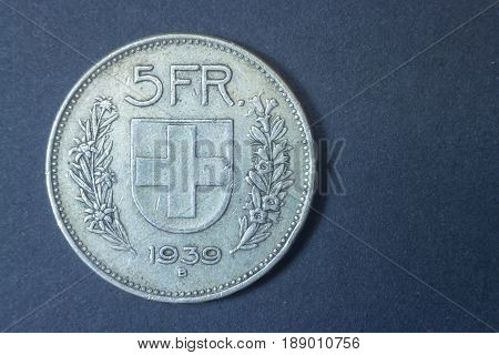 Five Swiss Francs 1939 Helvetica Silver Tail Coin, Vintage Antique Old, Difficult And Rare To Find.