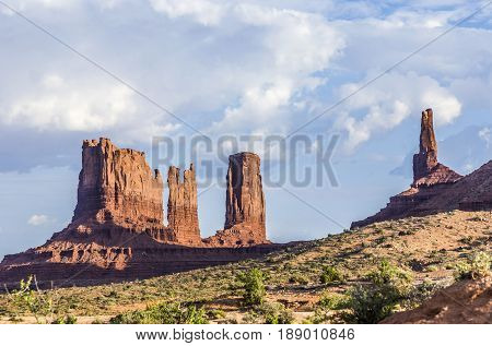 Stagecoach and Bear and Rabbit are giant sandstone formation in the Monument valley