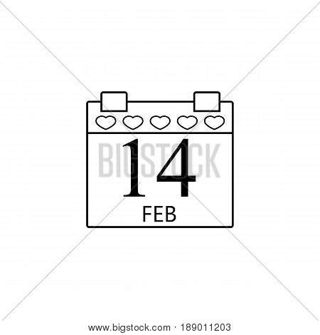 Valentine's calendar line icon, 14 February valentine's day , vector graphics, a  linear pattern on a white background, eps 10.