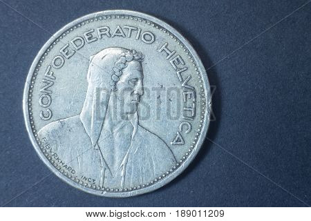 Five Swiss Francs 1939 Helvetica Silver Head Coin, Vintage Antique Old, Difficult And Rare To Find.