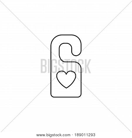 Do not disturb with heart line icon, hotel door hanger for Valentine's day, gender, vector graphics, a linear pattern on a white background, eps 10.