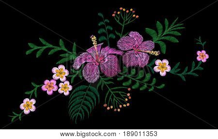 Hawaii flower embroidery arrangement patch. Fashion print decoration plumeria hibiscus palm leaves. Tropical exotic blooming bouquet vector illustration art