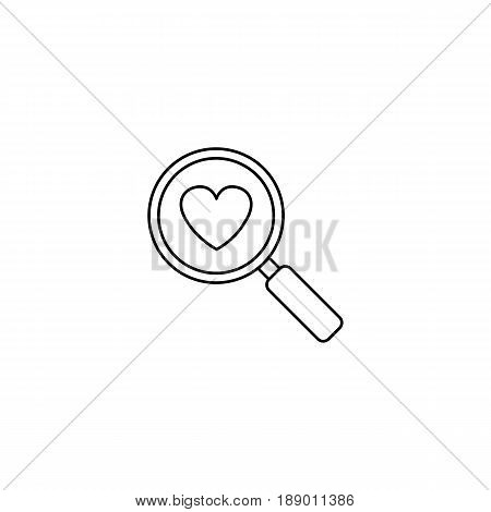 Magnifier with heart line icon, Love searching, Valentine's day, love concept, vector graphics, a linear pattern on a white background, eps 10.