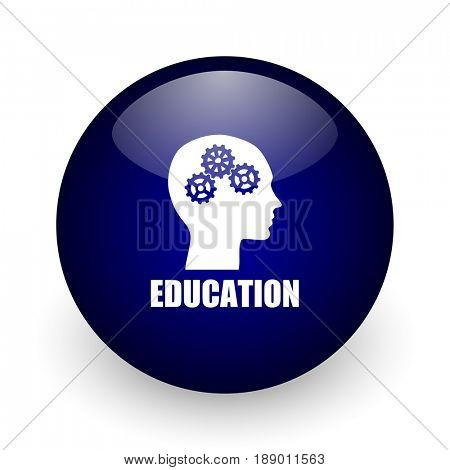 Education blue glossy ball web icon on white background. Round 3d render button.