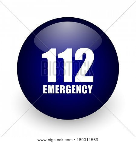Number emergency 112 blue glossy ball web icon on white background. Round 3d render button.