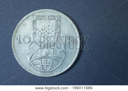 Ten Escudos 1955 Portugal Tail Coin, Vintage Antique Old, Difficult And Rare To Find.