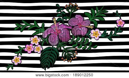 Hawaii flower embroidery on black white seamless stripe background. Fashion print decoration plumeria hibiscus palm leaves. Tropical exotic blooming bouquet vector illustration art