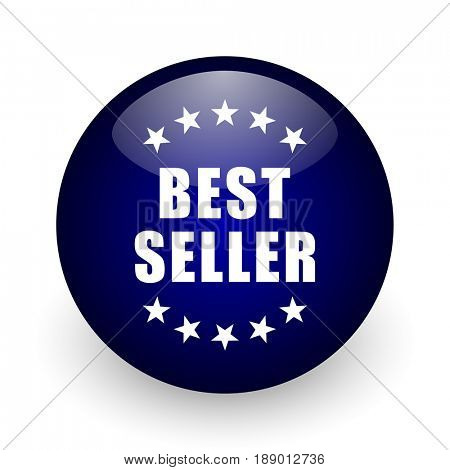 Best seller blue glossy ball web icon on white background. Round 3d render button.