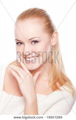 attractive young caucasian adult isolated on white background
