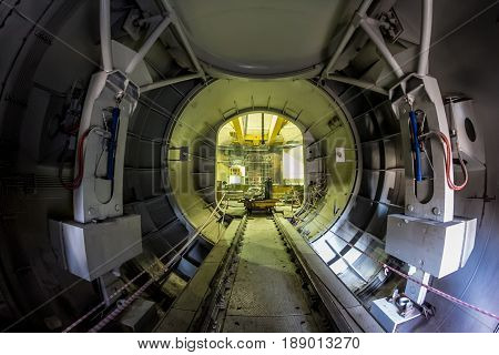 Novovoronezh, Russia - October 29, 2014: The transport gateway to a nuclear reactor for the replacement of nuclear fuel, Novovoronezh Nuclear power plant
