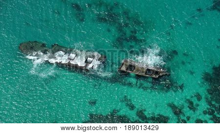 Aerial view of sunken vessel junk, Saipan lagoon seen if one goes flying above the Saipan lagoon, Northern Mariana Islands