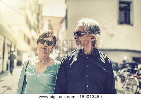 Senior couple walking through the streets of Tuebingen, Germany