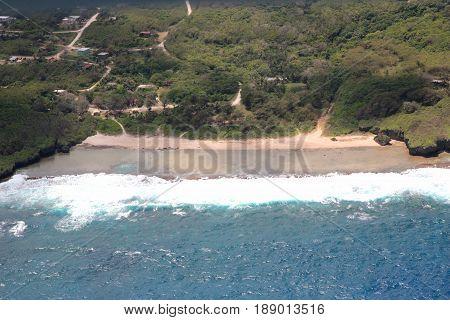 Aerial view of Marine Beach and Kagman villages, Saipan Marine Beach in Kagman, Saipan, Northern Mariana Islands
