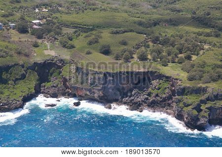 Deep cliffs and waves, Kagman, Saipan Saipan's eastern coastal lines are paved with deep cliffs and dangerous but breathtaking scenery.