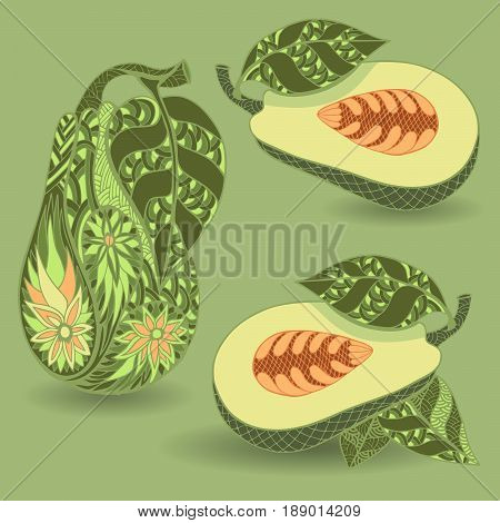 Avocado icon set. Doodle and zentangle style. Hand drawn.  Vector illustration.
