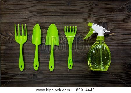 gardening equipment with spray, rake and trowel for growing green plants on wooden desk background top view