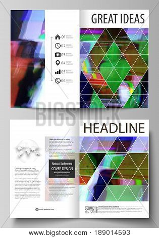 Business templates for bi fold brochure, magazine, flyer, booklet or annual report. Cover design template, easy editable vector, abstract flat layout in A4 size. Glitched background made of colorful pixel mosaic. Digital decay, signal error, television fa