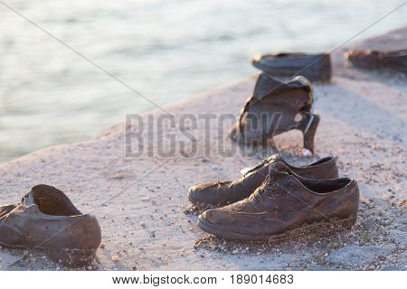 Shoes on Danube. Holocaust Memorial in Budapest Hungary.