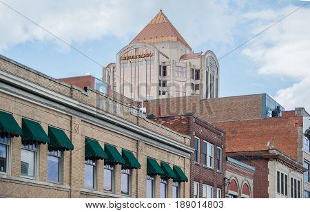 ROANOKE VIRGINIA-MAY 30: View of downtown Roanoke Virginia