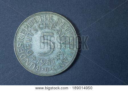 Five German Marks Bundesadler 1951 Tail Coin, Vintage Antique Old, Difficult And Rare To Find.