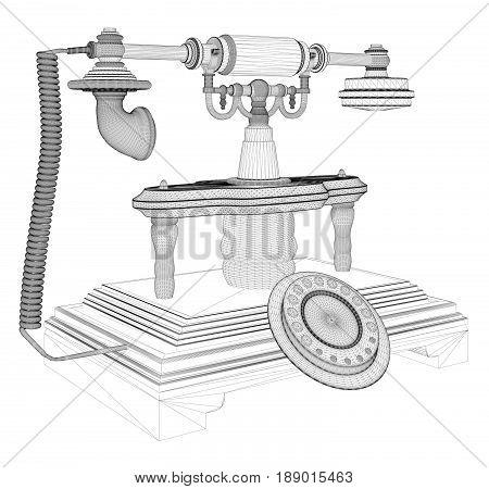 Retro Phone Isolated Illustration On White Vector