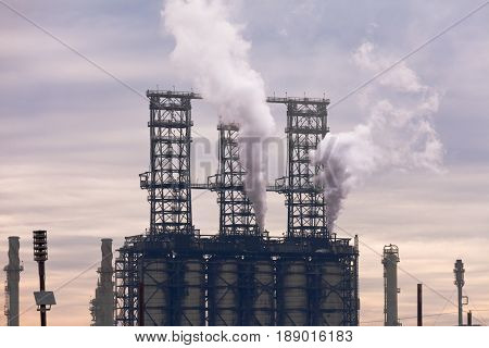 Reactor Columns Of Petrochemical Refinery Plant