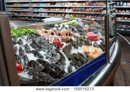 Great quantity of fresh fish and seafood on iced market display