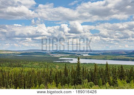 Remote mining towns Labrador City and Wabush in the boreal forest taiga of the Province of Newfoundland and Labrador Canada near the border to Quebec
