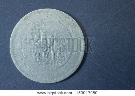 Two Hundred Reis 1889 Brazil Tail Coin, Vintage Antique Old, Difficult And Rare To Find. Fading Thro