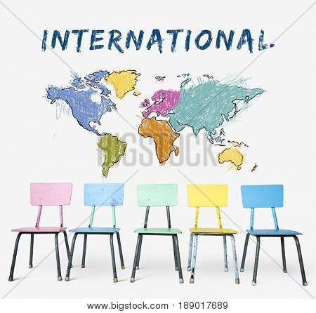 Colorful chair with cartography world map drawing art poster