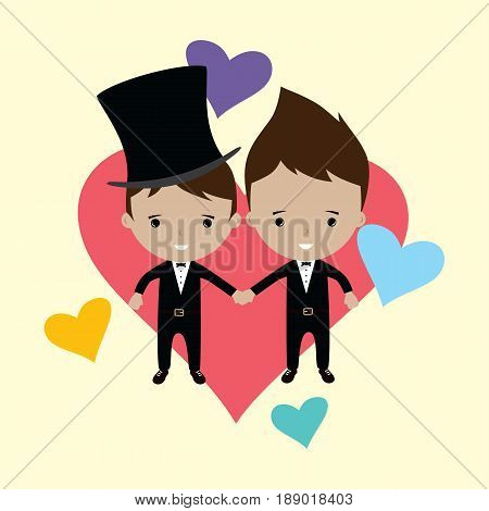 Adorable Gay Spouse Groom Lovely Cartoon Marriage