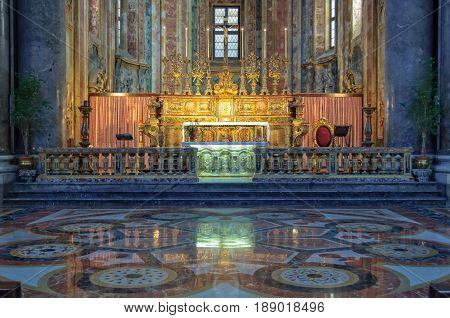 Main altar and marble floor of the San Giuseppe dei Teatini church - Palermo Sicily Italy, 20 October 2011