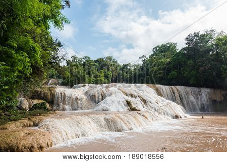 Cascadas de Agua Azul in the Mexican state of Chiapas