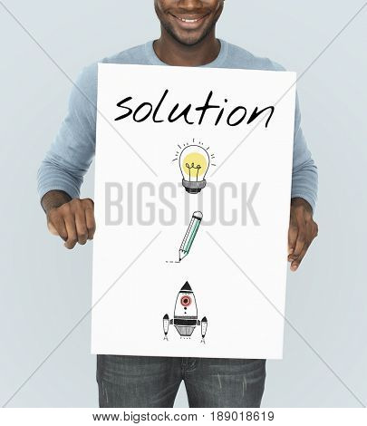 Illustration of creativity ideas for problem solving solution