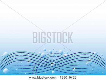 Water waves background with soap sparkling bubbles