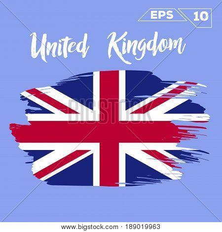 United Kingdom flag brush strokes painted vector illustration